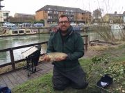 Will caught this 4lb chub from the cam. He waggler fished against the far bank boats using castors as bait (March 2015).