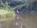 Graham Tweed clearing swims at Andersons lake